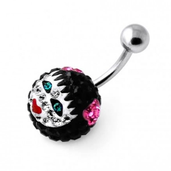 Buy Multi Crystal stone Girl face Carved in Pumpkin Navel belly Ring online
