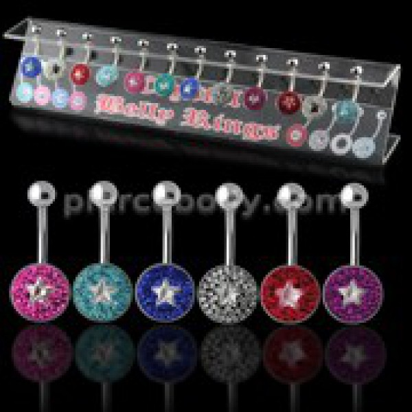 Buy Multi Crystal Stone Navel bar with a Star Center Stone in a Display online