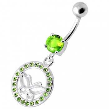 Buy Butterfly in multi Jeweled Round Frame Navel Banana online