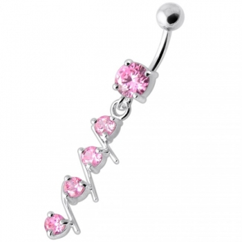 Buy 4 step Round Jeweled Dangling Navel Bar online