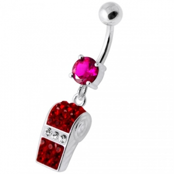 Buy Multi Jeweled Dangling Whistle Navel Belly Bar online