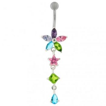 Buy Pink Stone Studded Jeweled Flower Navel Ring online