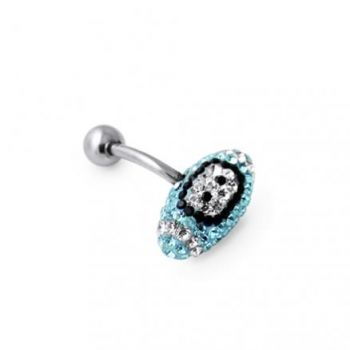Buy Aqua Crystal Rugby Ball Navel Belly Ring online