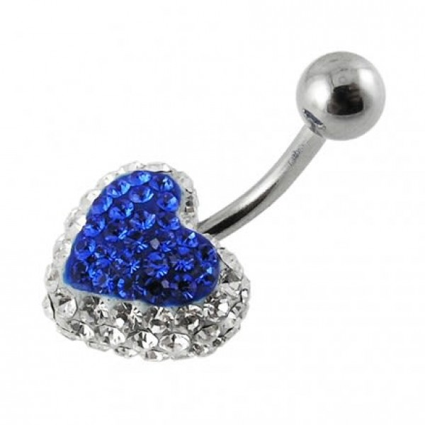 Buy Royal Blue Crystal stone Heart With SS Curved Navel Belly Ring FDBLY336 online