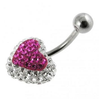 Buy Pink Crystal stone Heart With White Crystal SS Curved Bar Navel Ring online