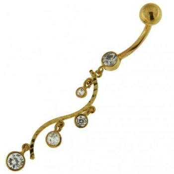 Buy Dangling Jeweled Floral 14K Solid Yellow Gold Navel Belly Button Ring online