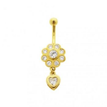 Buy High Quality Zirconia With14K Gold Moving Navel Ring online