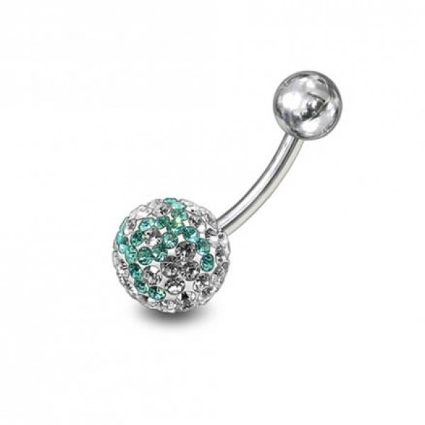 Buy preciosa White And Light Green Crystal stone Navel Ring online