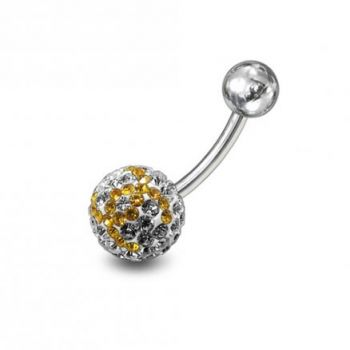 Buy preciosa Yellow With White Crystal stones Navel Ring Body Jewelry online