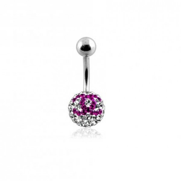 Buy preciosa Pink And White Crystal stone Navel Ring online