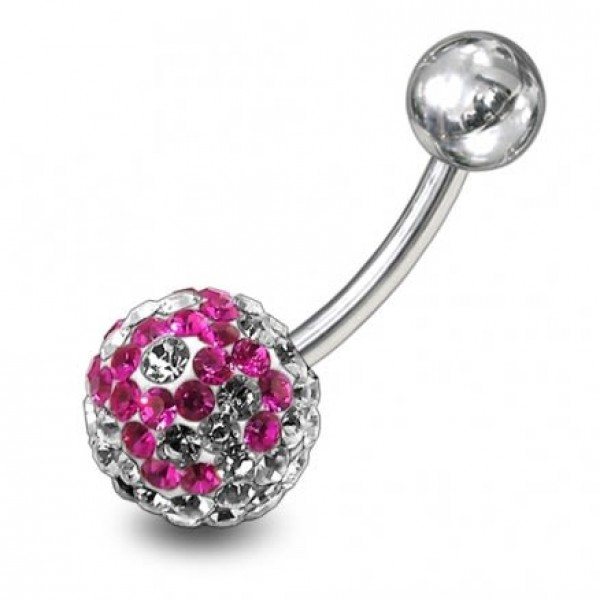 Buy preciosa Pink Crystal Stone Curved Bar Navel Ring online