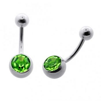 Buy 316L SS Single Green Jeweled SS Banana Navel Belly Button Ring online