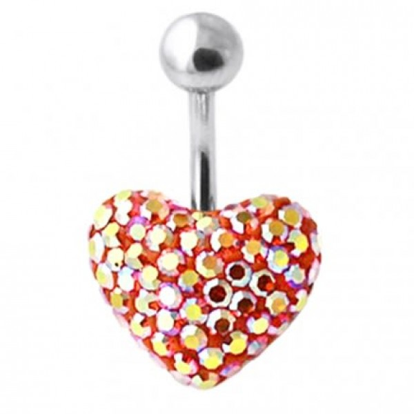 Buy Red And Yellow Crystal Stone Heart Banana Bar Navel Belly Ring online