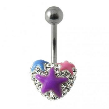 Buy Mix Color Crystal stone With Purple Heart Banana Bar Navel Belly Ring online