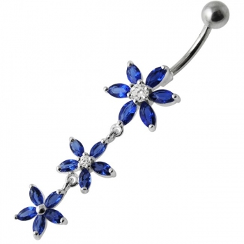Buy Fancy Pink Jeweled Multi Star Dangling SS Bar Navel Ring online