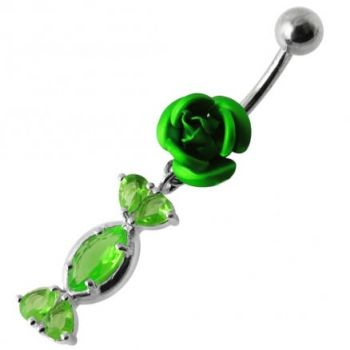 Buy Fancy Jeweled Red Rose Dangling SS Bar Navel Ring online