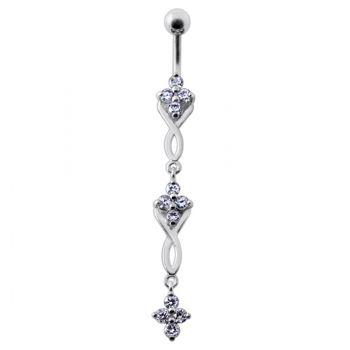 Buy Fancy Jeweled Dangling SS Bar Navel Ring Body Jewelry online