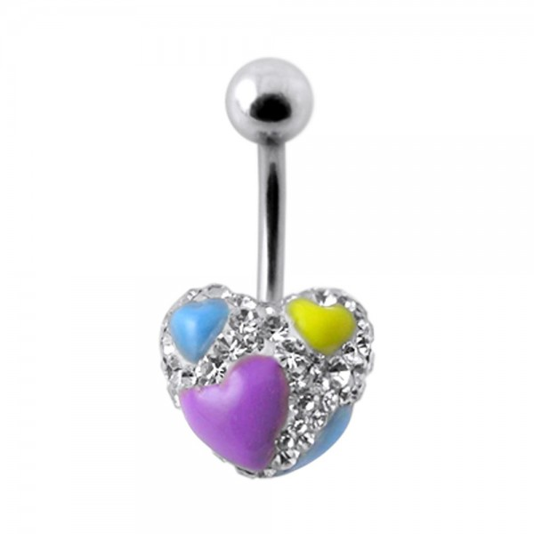 Buy Multi Crystal Stone Heart Studded Navel Ring With SS Curved Bar FDBLY409 online