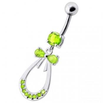 Buy Silver Blue Stone Jeweled Dangling SS Bar Navel Body Jewelry online