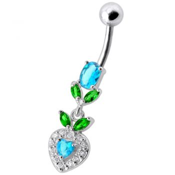 Buy Fancy Multi Stone Jeweled With Purple Heart Dangling Navel Ring online