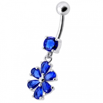 Buy Fancy Green Stone Flower Jeweled Silver Dangling With SS Bar Navel Ring online