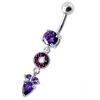 Buy Fancy Multi Stone Jeweled and Pear Dangling SS Bar Navel Body Jewelry Ring online