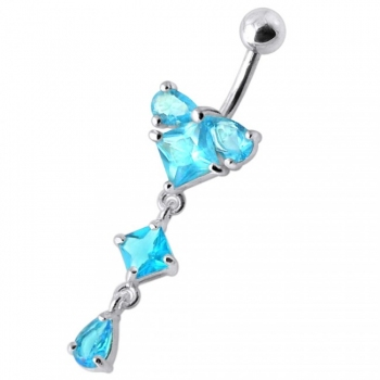 Buy Fancy fashionable Jeweled Dangling With SS Bar Navel Body Jewelry Ring online