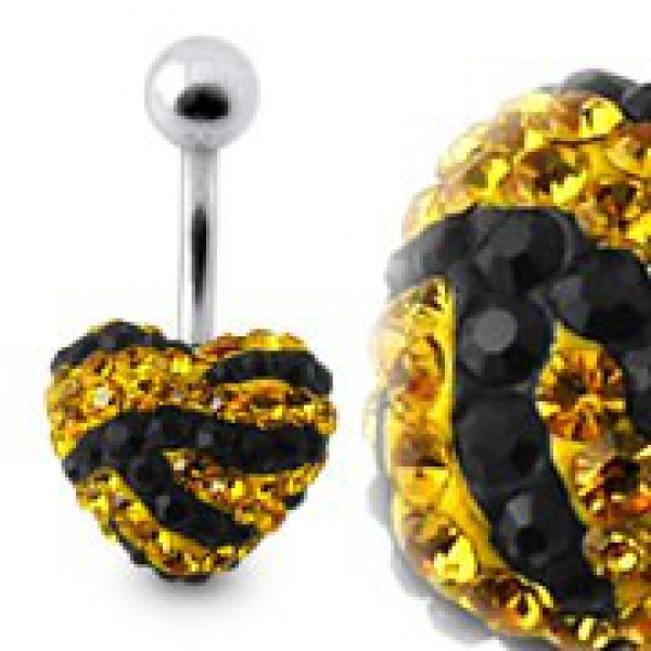 Buy Tiger Strips Crystal Stone Heart Navel Ring With SS Banana Bar online
