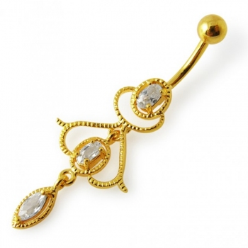 Buy Fancy Jeweled Pink Stone Silver Dangling With Banana Bar Navel Ring online