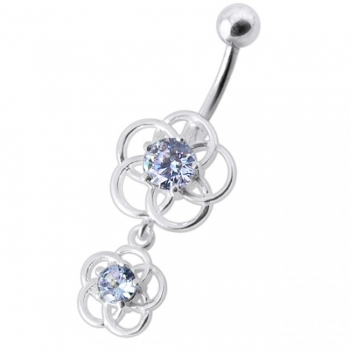 Buy Fancy Classic Pink Stone Jeweled Dangling Curved Navel Ring Body Jewelry online