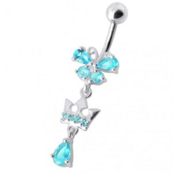 Buy Fancy Green Stone Jeweled Crown Dangling With SS Bar Navel Ring online