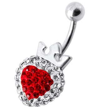 Buy Fancy Silver Red And Pink Heart Shape Jeweled Silver Navel Belly Button Ring online