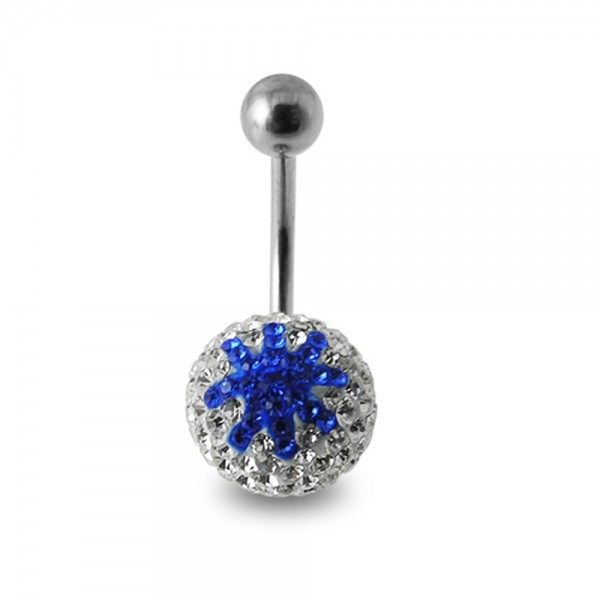 Buy White And Blue Glitter Crystal stone Star Jeweled Ss Navel Belly Ring online