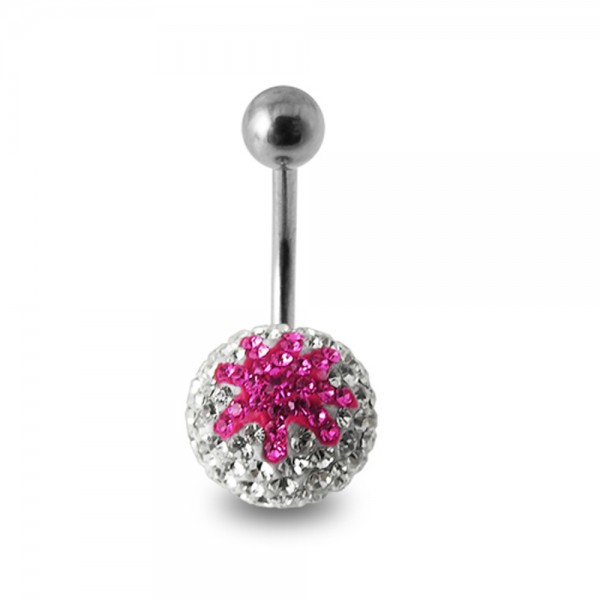 Buy Pink And White Crystal stone Star navel Body Jewelry Ring online
