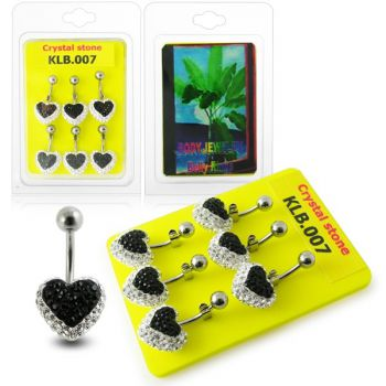 Buy 12mm Crystal stone Heart Navel Ring With Curved Banana Bar online