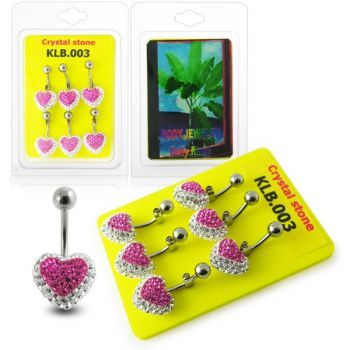 Buy Pink Crystal stone Heart Navel Belly Ring With SS Banana Bar online
