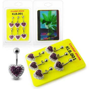 Buy Multi Color Crystal stone Heart With SS Curved Navel Body Jewelry Ring online