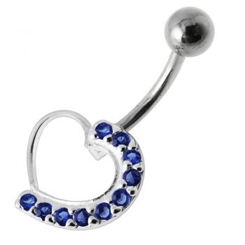 Buy Fancy Heart Jeweled Silver Navel Belly Ring online