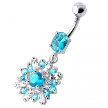 Buy Fancy White And Blue Vintage Jeweled Dangling SS Bar Navel Ring online