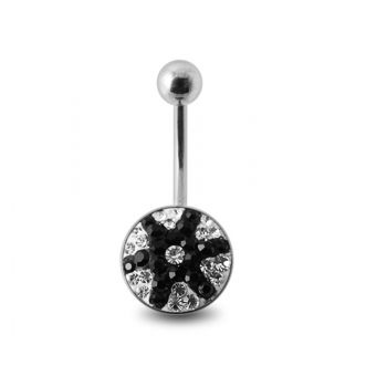 Buy Black And White Crystal stone Star Fish Banana Navel Ring with steel Base online
