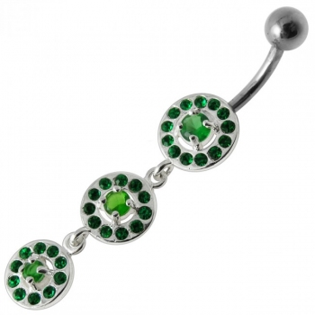 Buy Fancy Old Classic Design Green Jeweled Dangling Navel Ring online