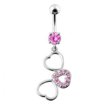 Buy Fancy Jeweled Multi Heart Dangling SS Curved  Navel Ring online