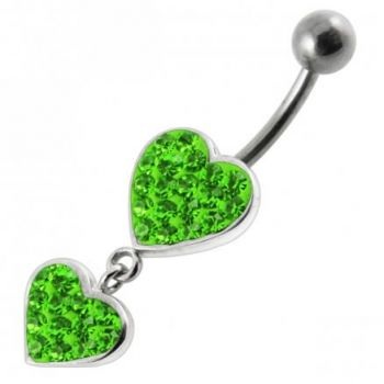 Buy Fancy Double Red Jeweled Heart Dangling SS Bar Navel Ring online