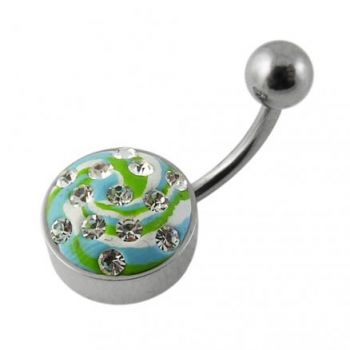 Buy Steel Base Multi Color painted Crystal Navel Ring Body Jewelry online