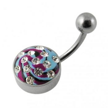 Buy 316 Surgical Steel Multi Color painted Crystal Curved Bar Navel Ring with Steel Base online