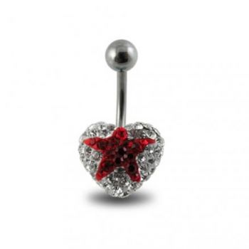 Buy Crystal stone With Red Star With Surgical Steel Banana Bar Navel Ring online