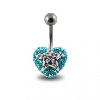 Buy White Crystal stone Star With Surgical Steel Curved Navel Belly Ring online