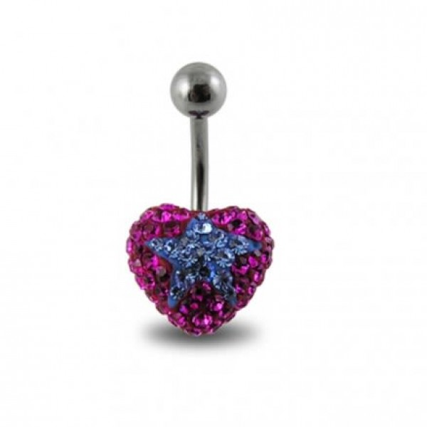 Buy Pink Crystal stone With Blue Star Banana Bar Navel Ring Body Jewelry online