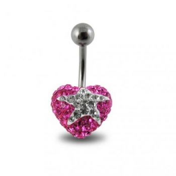 Buy Surgical Steel With Pink And White Crystal stone Star Navel Ring FDBLY357 online