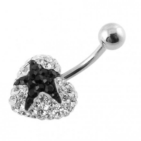 Buy Crystal stone Black Star In Surgical Steel navel Ring FDBLY351 online